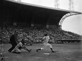 Pee Wee Reese Bats for the Brooklyn Dodgers During a Dodgers-Braves Game at Miami Stadium