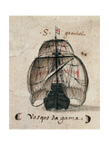Vasco Da Gama's Caravel  Illustration from 'Memorias Das Armadas'  C1568