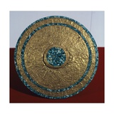 Engraved Gold Disk and Turquoise Mosaic  Artifact Originating from the Castle of Chichen Iza