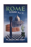 Poster Advertising Flights to Rome by Clipper  Produced by Pan American Airlines  C1950