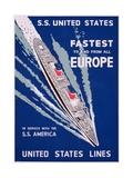 SS United States  Fastest to and from All Europe  United States Lines Advertisement  C1955