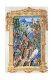 Battle Scene Between Archers and Cavalry  with Castle and Ships  C1495-1500
