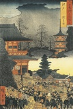 New Year's Eve Party in Asakusa  in the City of Edo  by Ando Hiroshige