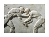 Plinth of Kouros Statue  Bas-Relief Depicting Wrestlers  Circa 510 BC  Detail