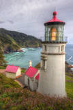Scene at Haceta Head Lighthouse  Oregon Coast