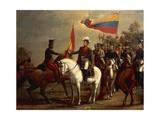Simon Bolivar Honoring the Flag after Battle of Carabobo  June 24  1821