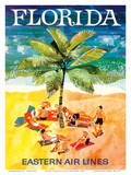 Florida - Eastern Air Lines - Sunbathers around Palm Tree Reproduction d'art par Jane Oliver