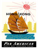 Hong Kong  China Pan Am American Traditional Sail Boat and Temples