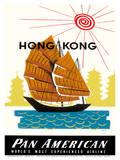 Hong Kong, China Pan Am American Traditional Sail Boat and Temples Reproduction d'art par A. Amspoker