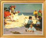 On the Beach (Potthast) Art texturé encadré par Edward Henry Potthast