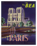 Paris - Notre Dame Cathedral by Moonlight - Fly BEA (British European Airways)