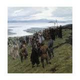 A Painting Shows the Christian Clergy Preaching to a Norse Settlement