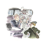 Watercolor of Traveler at Airline Service Counter