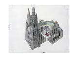 Architectural Painting and Cutaway of Chartres Cathedral