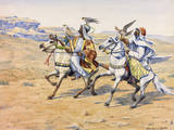 A Painting of Two Men Setting Out with Falcons to Course Gazelles