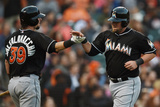 May 17  2014  Miami Marlins vs San Francisco Giants - Casey McGehee  Jarrod Saltalamacchia