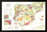 Iberia Wine Map (Spain & Portugal) Poster Poster en laminé encadré