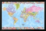 Carte du monde politique en anglais avec drapeaux Poster en laminé encadré