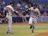 May 9  2014  Cleveland Indians vs Tampa Bay Rays - Michael Brantley  Mike Sarbaugh