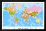 Carte du monde Poster en laminé encadré