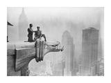 Workmen Smoking Atop Gargoyle  1940S