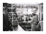 A cook preparing spaghetti  Broadway  New York City  1937