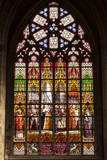 Stained Glass Window Inside Cathedral of Saint Michael and Saint Gudula  Brussels  Belgium  Europe