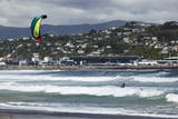 Kite Surfer with Airport in Background  Lyall Bay  Wellington  North Island  New Zealand  Pacific