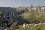 View of the Ravine and the Sassi Area of Matera with Matera Cathedral  Basilicata  Italy  Europe