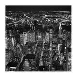 Night aerial view of midtown Manhattan