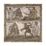 Roman Mosaic of Gladiators  3rd C
