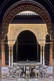 Alhambra  Nazari Palace  Court of the Lions  Built in 1377 by Mohamed V  Fountain  Granada  Spain