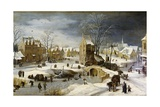Winter Scene with Ice Skaters and Birds