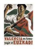 Republican Spanish Civil War Poster  Valencia in homage to Euzkadi