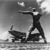 Airman Gives the 'Take Off' Signal to North American P-51 Nicknamed 'My Girl' on Iwo Jima