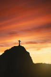 Statue of Christ the Redeemer at Sunset  Corcovado  Rio De Janeiro  Brazil  South America