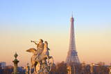 Eiffel Tower from Place De La Concorde with Statue in Foreground  Paris  France  Europe