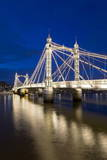 Albert Bridge and River Thames at Night  Chelsea  London  England  United Kingdom  Europe