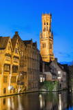 Belfry at Twilight  Historic Center of Bruges  UNESCO World Heritage Site  Belgium  Europe