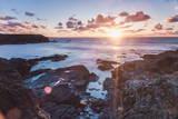Rocky Coast at Treyarnon Bay at Sunset  Cornwall  England  United Kingdom  Europe