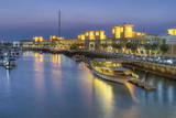Souk Shark Mall and Kuwait Harbour  Illuminated at Dusk  Kuwait City  Kuwait  Middle East