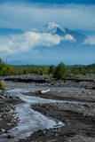 Little Creek and the Tolbachik Volcano  Kamchatka  Russia  Eurasia