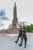 The Changing of the Guard at the Monument of Freedom  Riga  Latvia  Europe