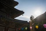 Backlit Golden Maitreya Statue  Beopjusa Temple Complex  South Korea  Asia