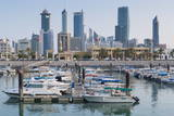 City Skyline Viewed from Souk Shark Mall and Kuwait Harbour  Kuwait City  Kuwait  Middle East