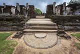 Entrance to Kiri Vihara Buddhist Temple Ruins with Moonstone at Entrance