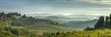 Early Morning Panoramic View of Misty Hills  Near San Gimignano  Tuscany  Italy  Europe