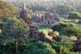 Ancient Temples at Sunset from Shwesandaw Pagoda  Bagan  Myanmar (Burma)  Asia