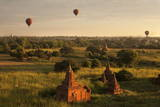 View from Buledi Temple of Bagan's Many Temples and Hot Air Balloons at Sunrise