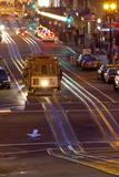Street Scene at Night with Historic San Francisco Street Car